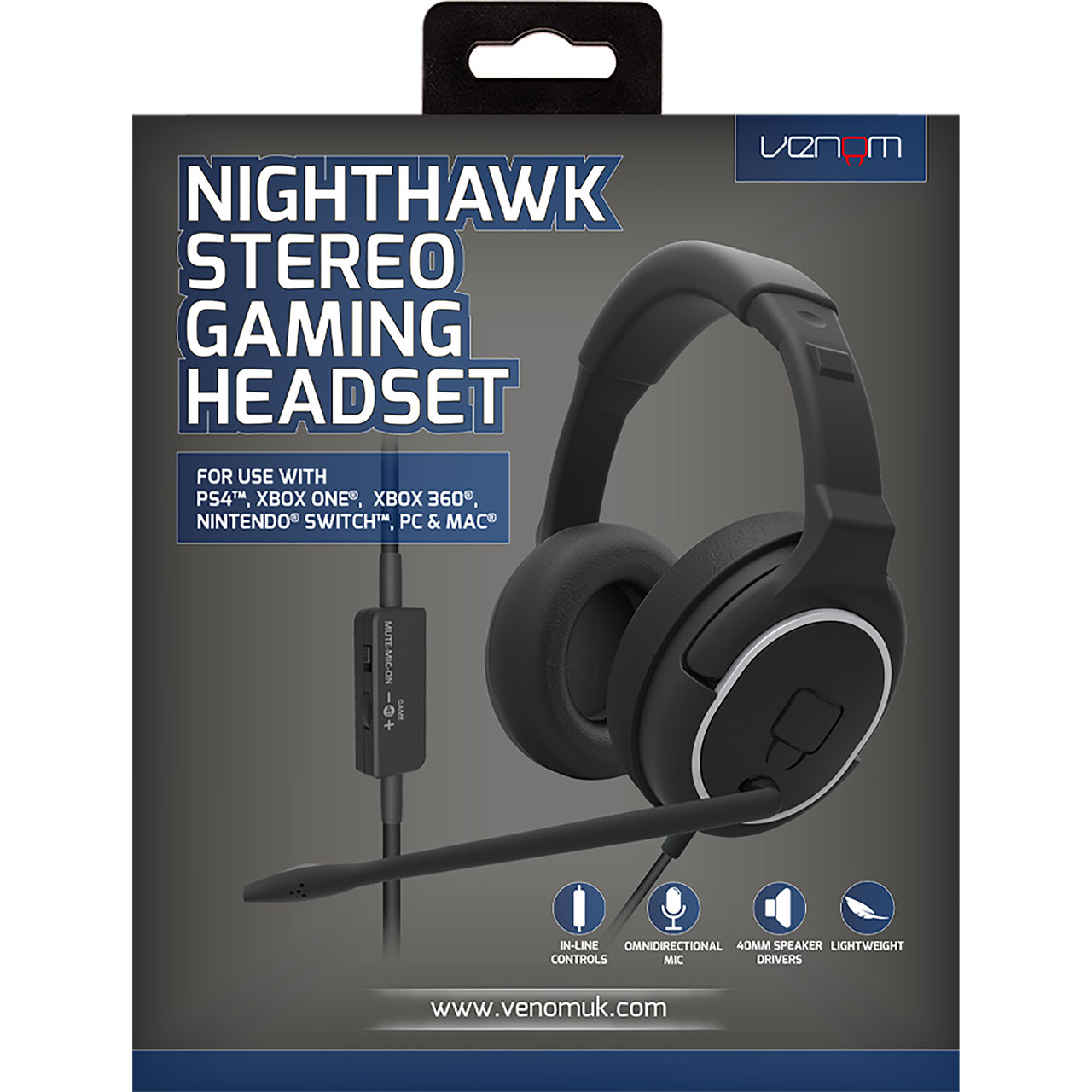 Venom VS2855 Nighthawk Stereo Gaming Headset (PS4,XBOX ONE,PC,NINTENDO SWITCH)
