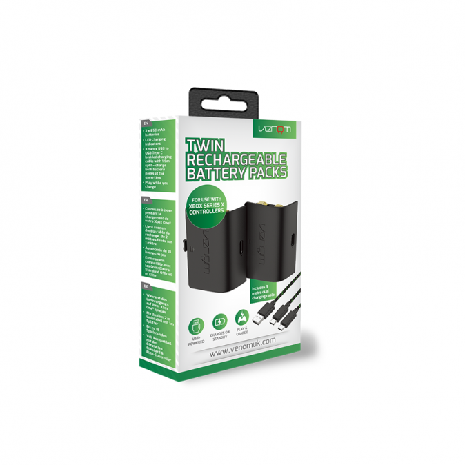 Venom Xbox Series S/X Twin Rechargeable Battery Packs (Fekete) VS2882